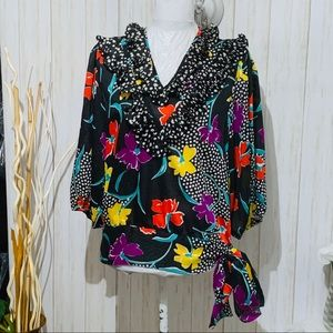 Vintage 80s Janan Studio floral ruffled blouse